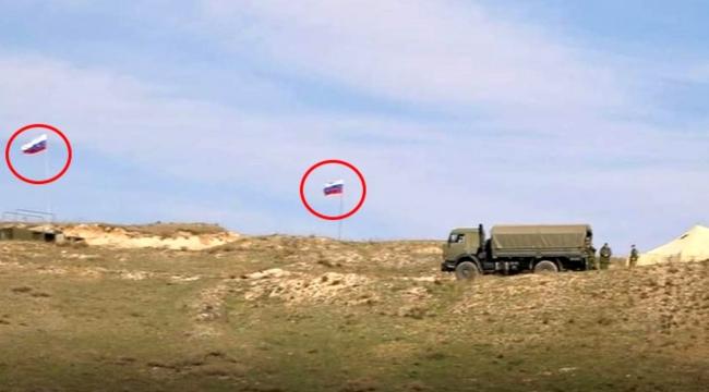 Ermenistan'dan bir PKK taktiği daha! Sınır bölgesine Rus bayrakları diktiler