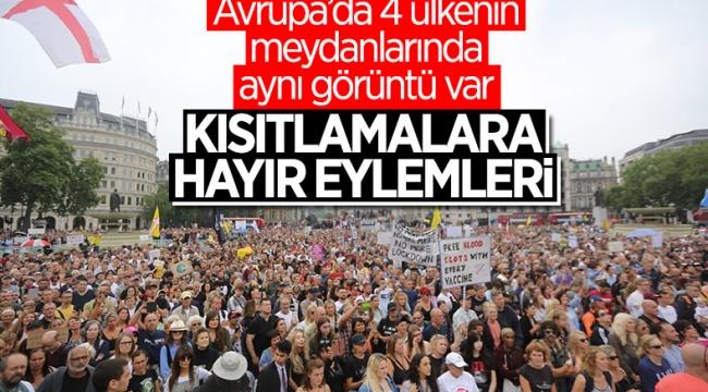 4 Avrupa ülkesinde koronavirüs önlemleri protesto edildi