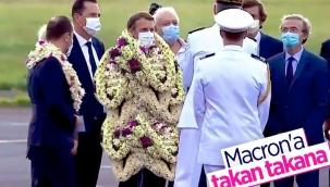 Emmanuel Macron'a, Fransız Polinezyası'nda çiçekli karşılama