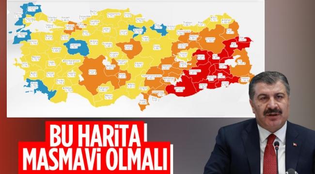 Fahrettin Koca: Harita maviye dönmeli