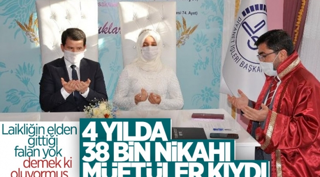 İl ve ilçe müftülüklerinde, 4 yıl içinde 38 bin 53 resmi nikah kıyıldı
